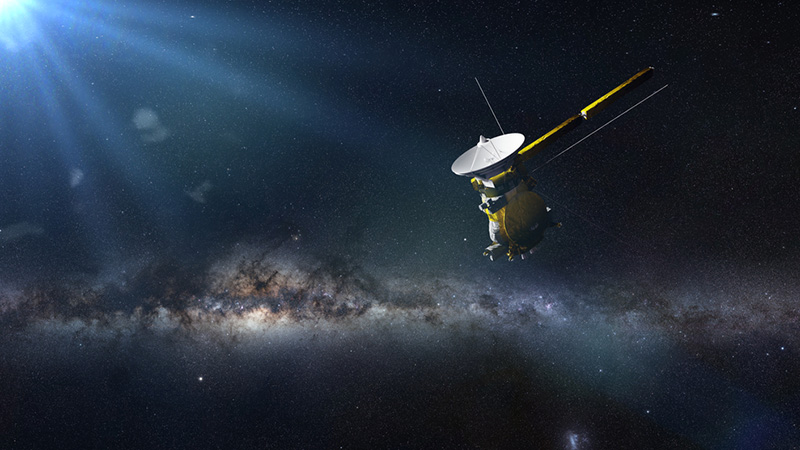 spacecraft Cassini in front of the Milky Way galaxy (3d illustration, elements of this image are furnished by NASA)