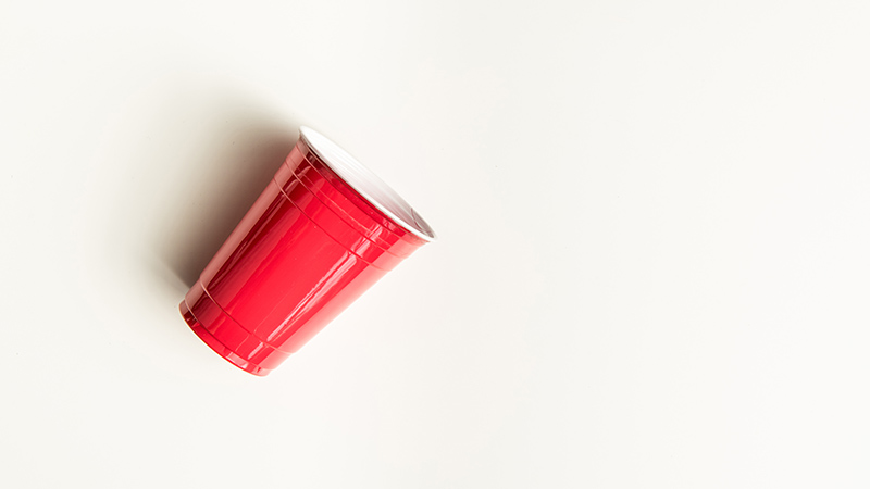 A plastic cup on a white background
