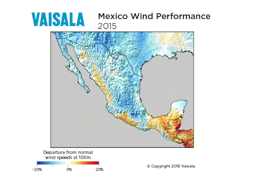 Wind performance in Mexico, 2015
