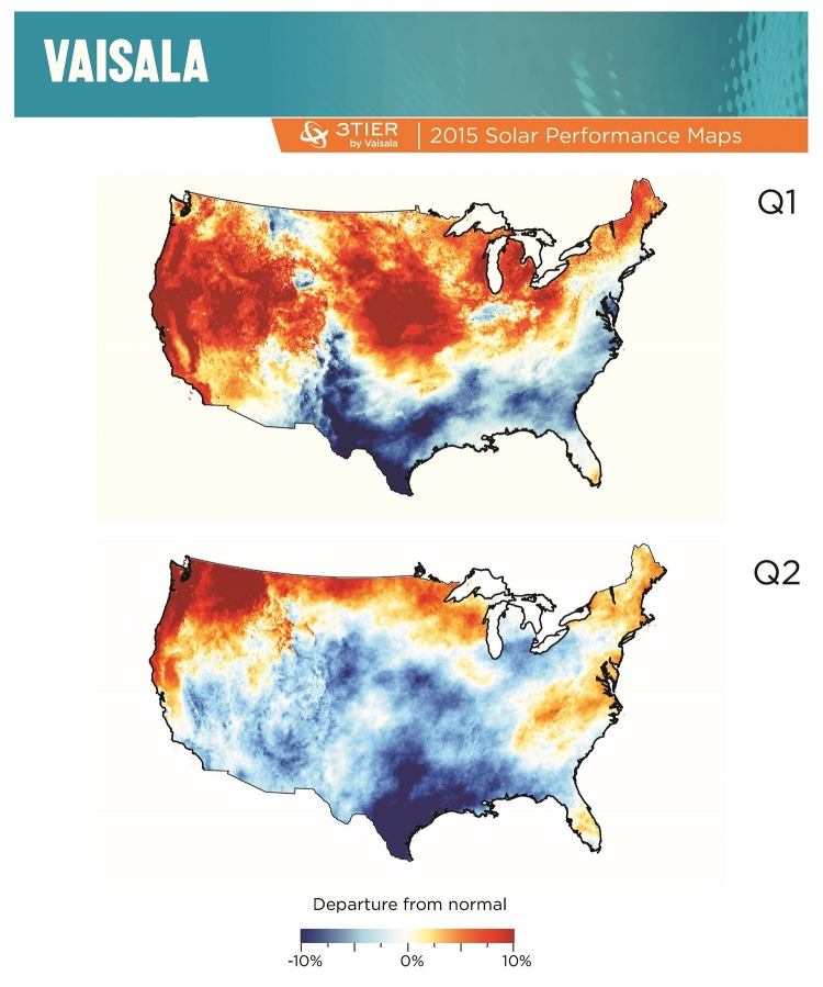 US solar performance maps showing departure from average conditions for global horizontal irradiance.