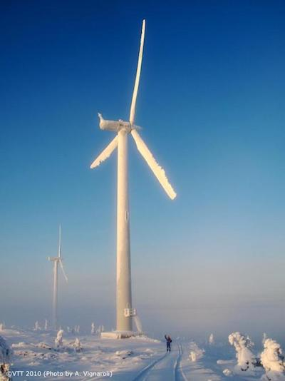 Wind turbines stopped in winter, copyright VTT