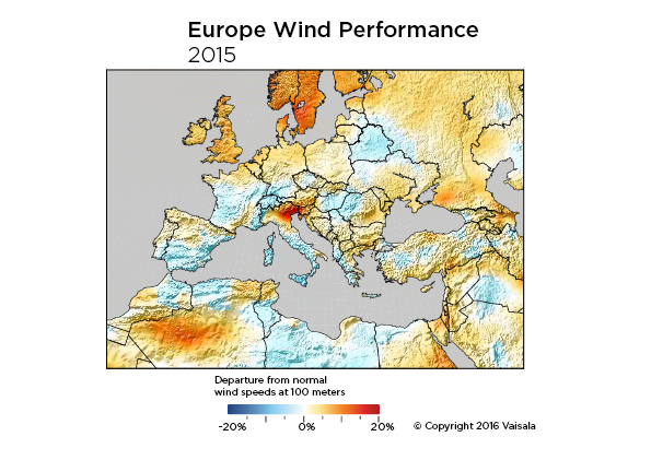 Wind resource in Europe, 2015