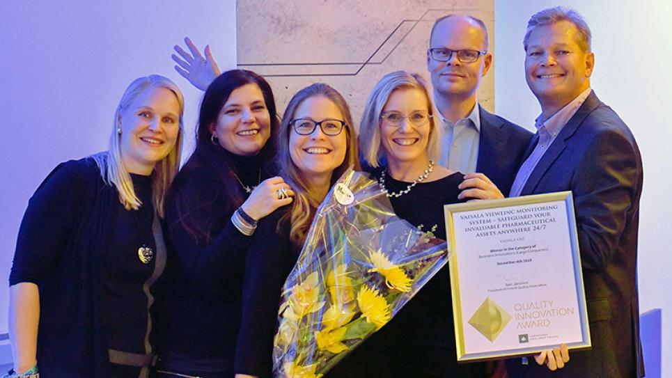 Vaisala viewLinc team wins Business Innovation category in Quality Innovation Award 2018 by Laatukeskus Excellence Finland