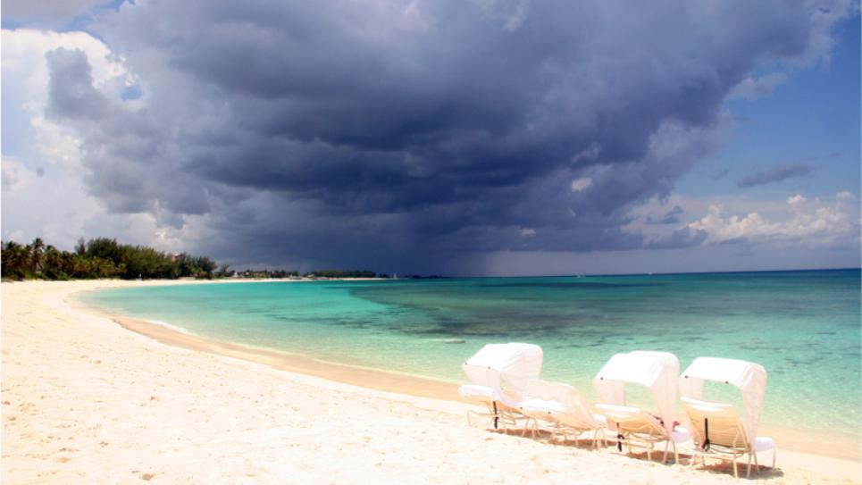 Storm heading towards a beach in Bahamas