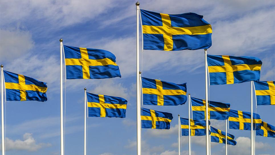 Swedish flag swayin in the wind