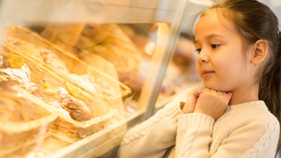 Girl in a bakery