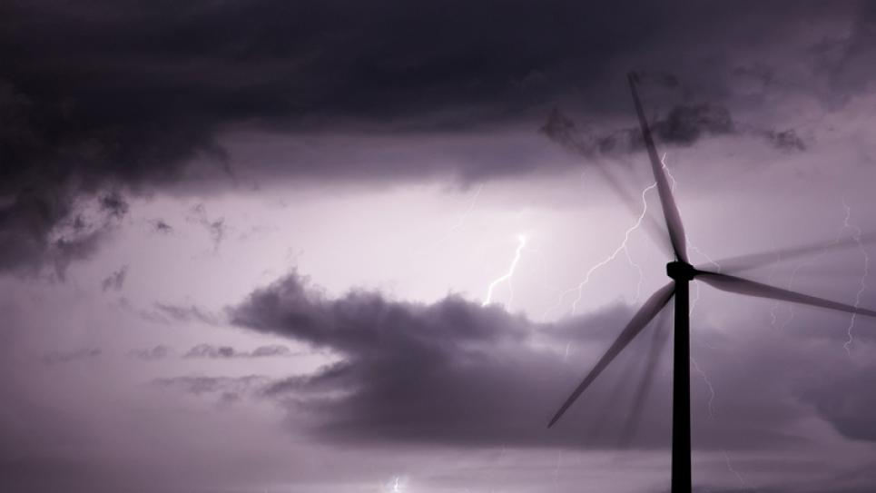 Lightning on wind farm