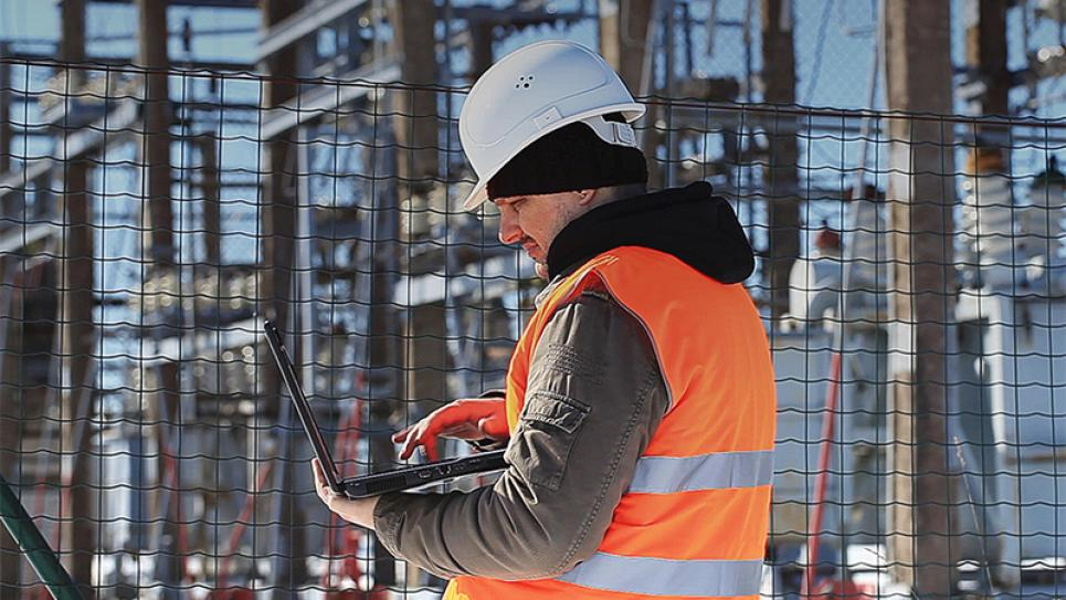 Engineer or electrician checking status step up transformer high voltage at transformer yard