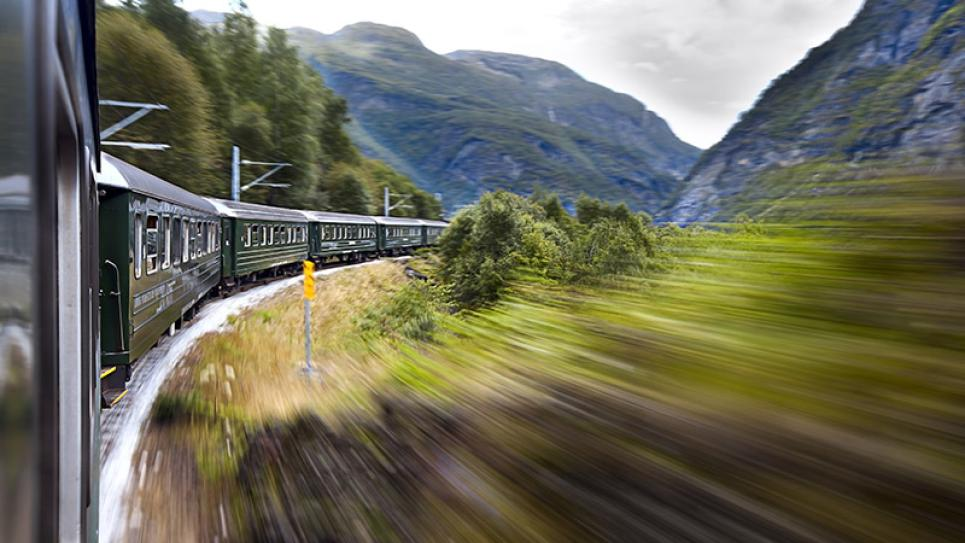 Train on rails in Norway