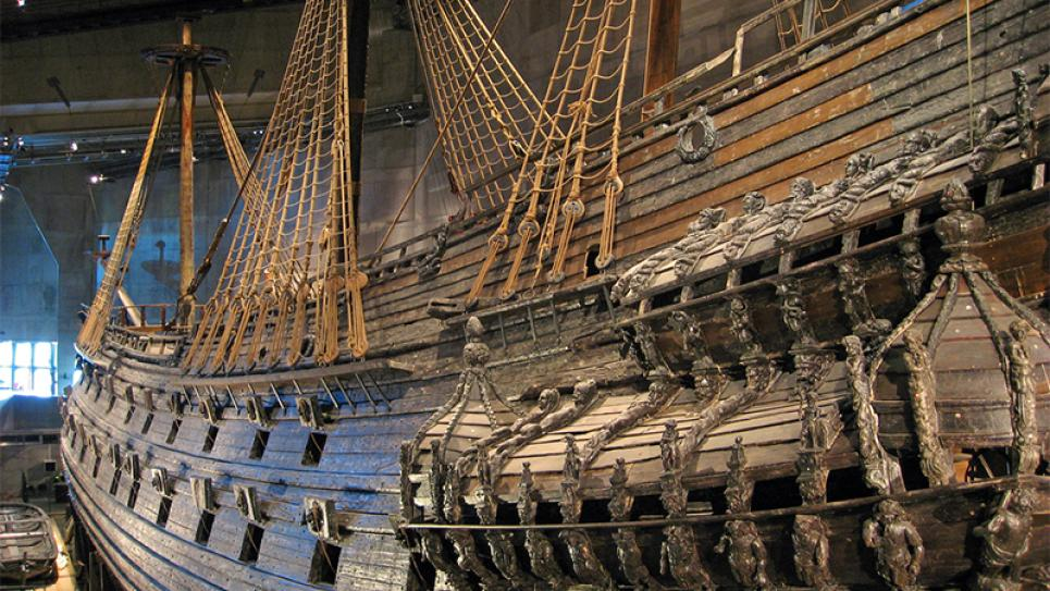 The Vasa ship capsized and sank in Stockholm 1628.