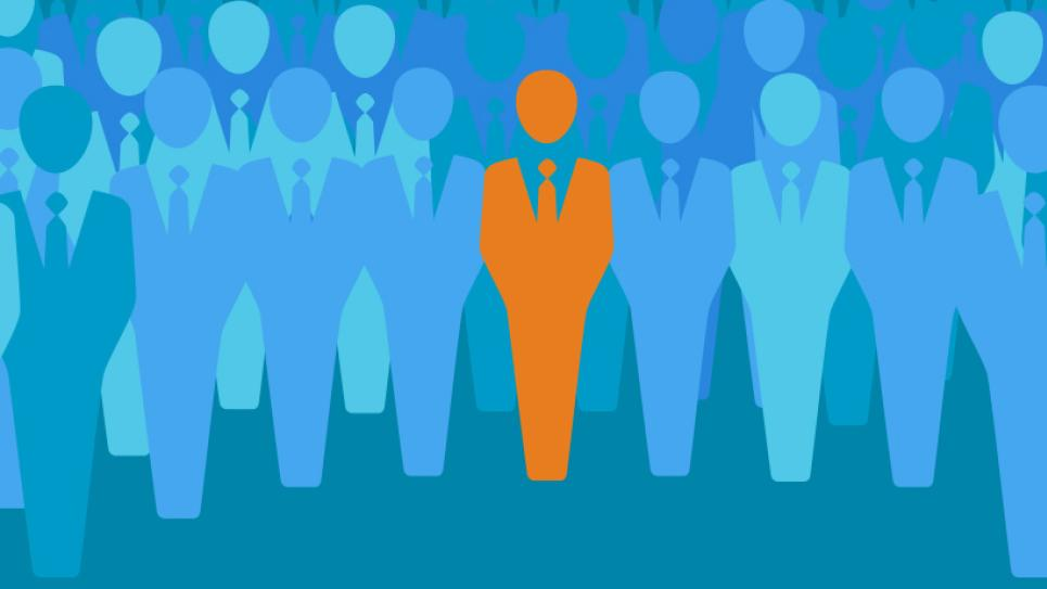 Conceptual illustration of a person in a crowd