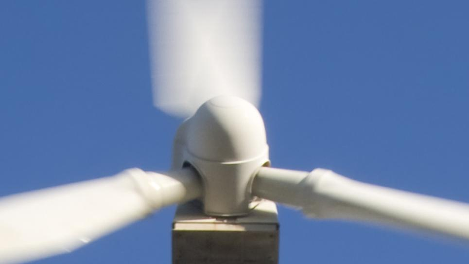 Close-up on nacelle of wind turbine