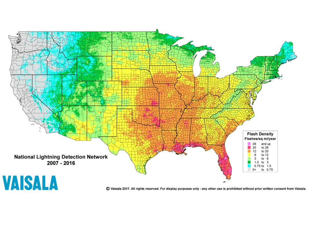 National Lightning Detection Network NLDN The Most Scientifically - Accurate map of us
