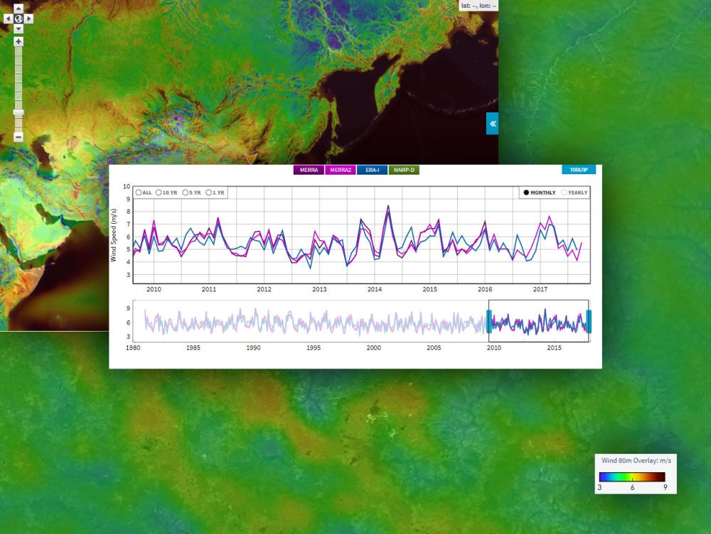 Wind time series allows you to use an interactive map interface to download bankable wind resource data